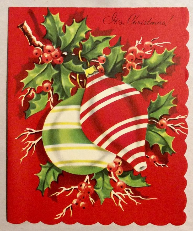Lovely Old Fashion Striped Ornaments 1950's Vintage Christmas Greeting Card