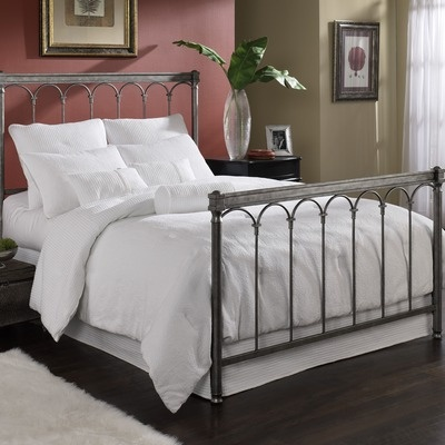 Romano Bed Headboard in Silver Gleam Size: Full    Classic Roman arches are the defining feature of the Romano Bed. The headboard and footboard's thick posts are joined by a top rail that rests above the arches    $175.99