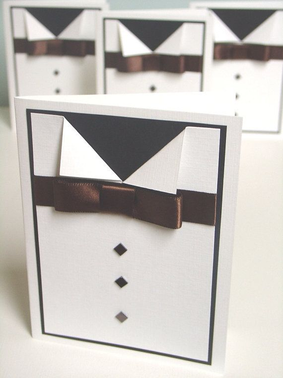 Tuxedo Card with handmade ribbon bow and embellishments for buttons-Formal Birthday Invitation-Bachelor Party Invitation