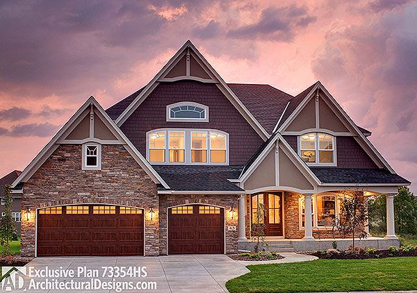 4 beds up. A 5th in the lower level. Exclusive House Plan 73354HS. Ready when you are. Where do YOU want to build?