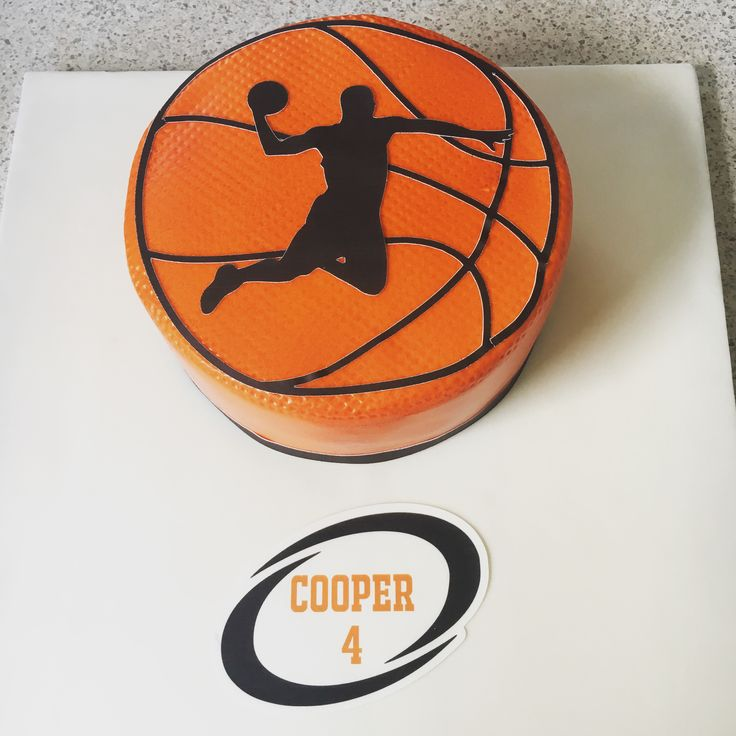 Basketball cake for Cooper! Chocolate cake, chocolate buttercream covered with ganache and fondant. Edible images used for the cutouts.