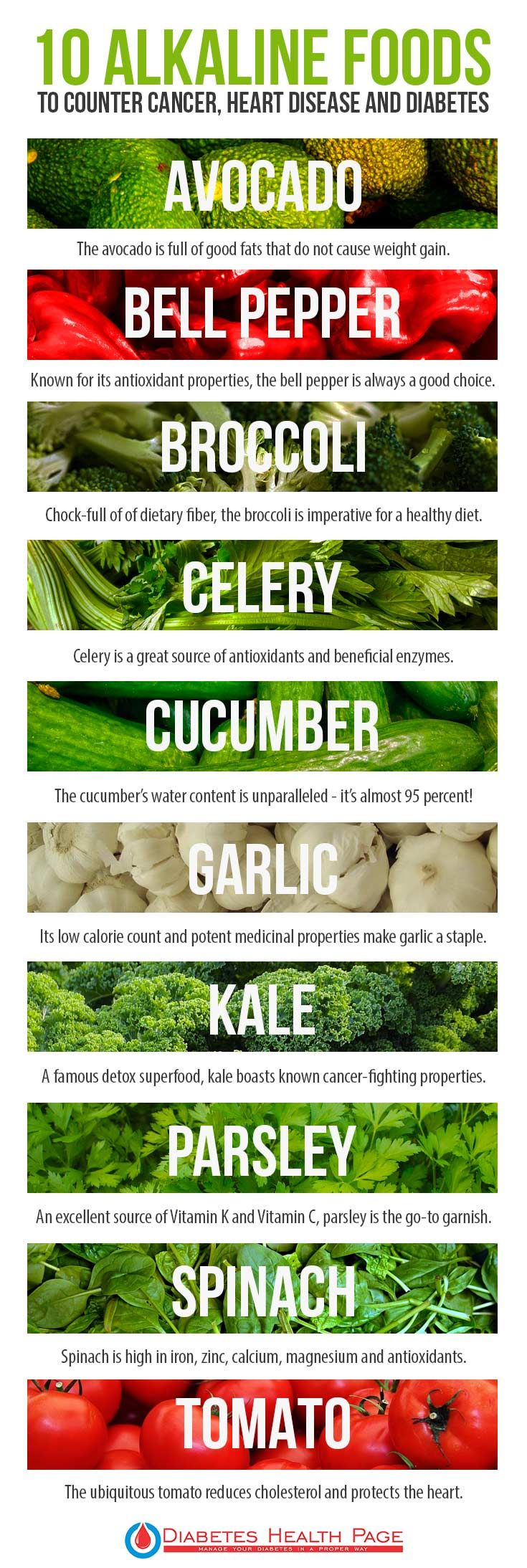 10 Alkaline Foods that Help Treat Gout, Diabetes, Cancer, and Heart Disease  Here's a list of ten alkaline foods that are good for your heart, blood glucose levels, weight loss process, and so much more.