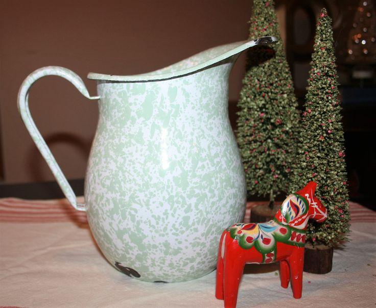 Vintage Spatterware Sponge Ware Enamel Farmhouse Pitcher Green and White Graniteware by AstridsPastTimes on Etsy