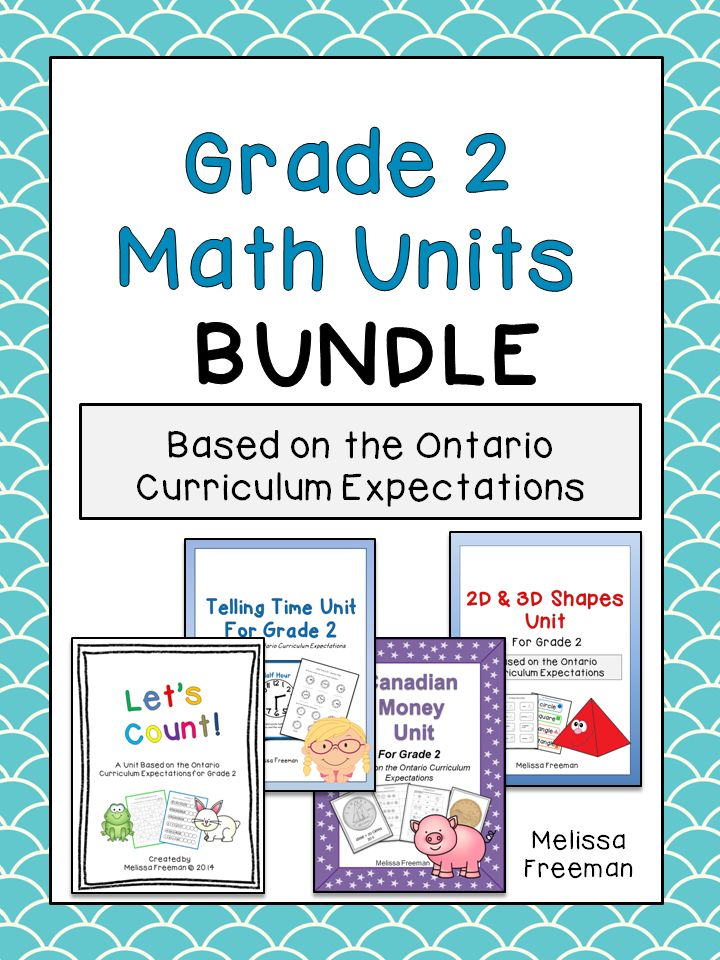 Grade 2 Counting, Telling Time, Canadian Money, and 2D/3D Shapes units bundled together for savings!  All based on the Ontario Curriculum Expectations.