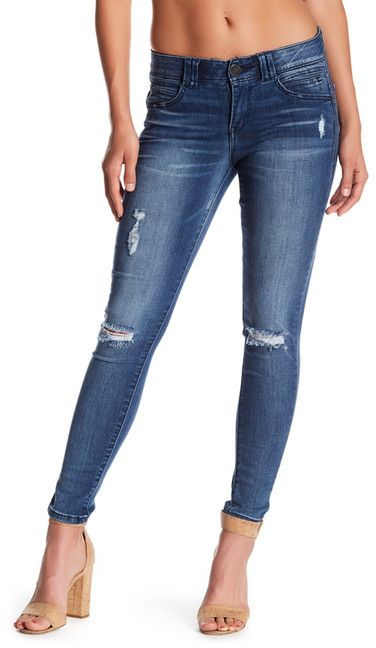 Democracy Luxe Touch Ab Technology Deconstructed Skinny Jeans (Petite)