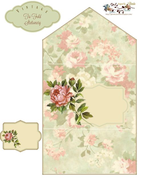 FREE from glenda's World : Vintage Tri-Fold Stationary