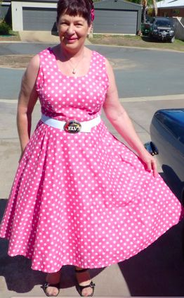 Another beautiful dress made by Jane, using The Pattern Drafter to draft her pattern.