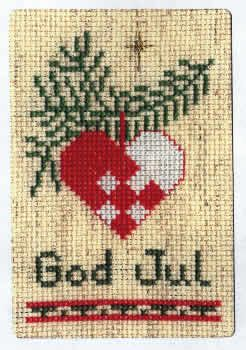 A Heartfelt God Jul on Oatmeal Card Kit (cross stitch)