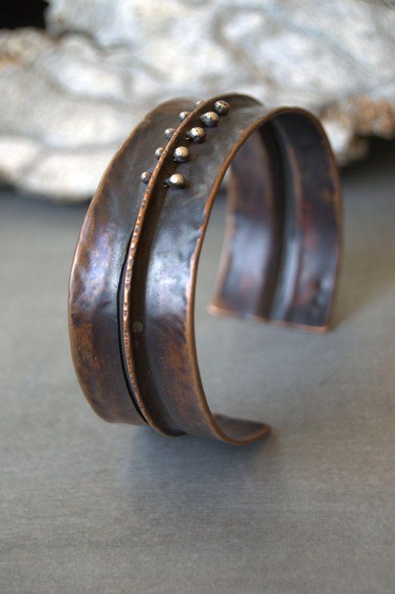 rustic oxidized copper cuff bracelet with by StudioLunaVerde, $68.00