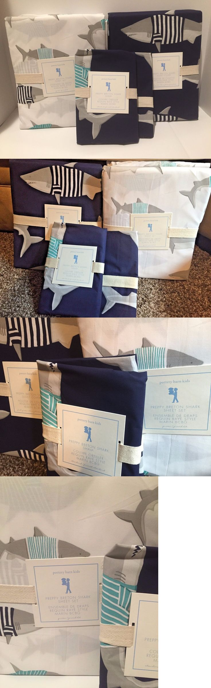 Pottery barn kids camp bed - Kids Bedding New Pottery Barn Kids Preppy Breton Shark Full Queen Duvet Shams