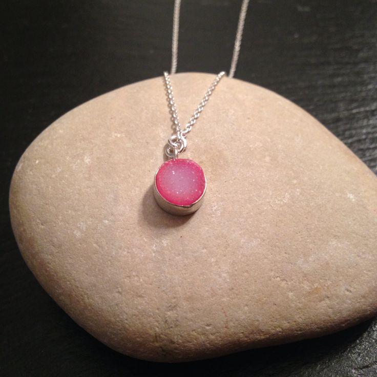 #necklace PINK DRUZY MIDI of silver  #SilverJewelry #Druzy