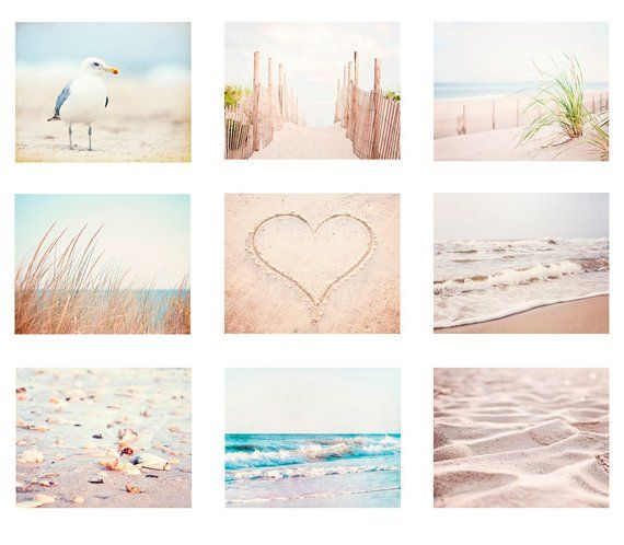 Pale Beach Photography Set, white cream light beige brown coastal prints 9 nine 11×14, 8×10, 5×7 oce – Etsy