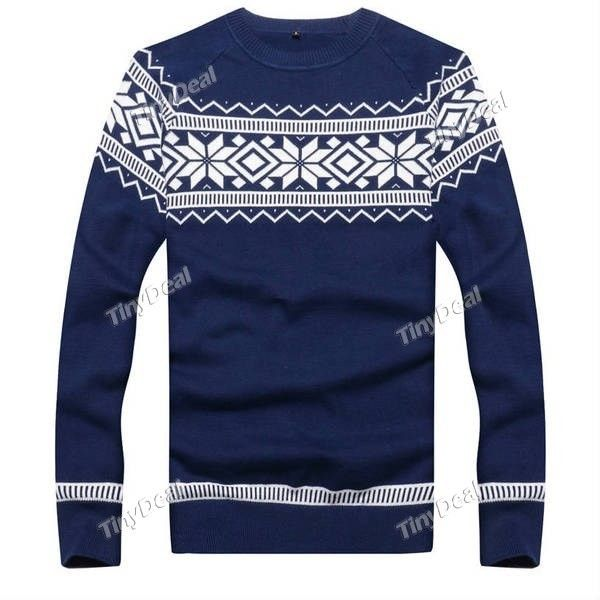 2014 Snowfake pattern Winter Casual Crewneck Sweatshirts Sweater ($22) ❤ liked on Polyvore featuring tops, print top, blue top, blue print top, pattern tops and crew neck tops