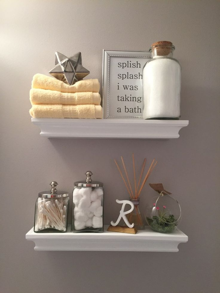 Best 25 bathroom shelf decor ideas on pinterest half for Restroom decoration pictures