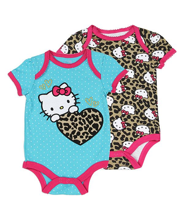 Look at this Blue & Pink Leopard Hello Kitty Bodysuit Set - Infant on #zulily today!