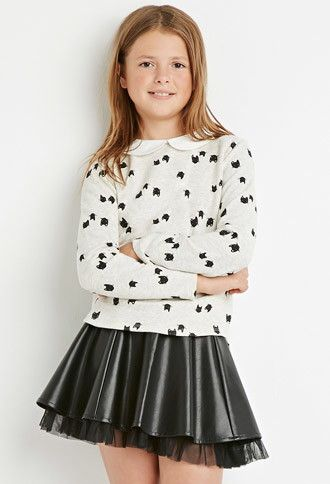 A heathered knit sweater featuring an allover cat print, Peter Pan collar, and long sleeves.- $14.90