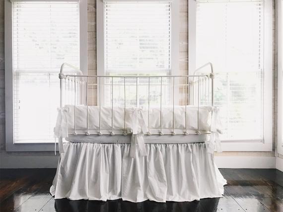 Crib Bedding Girl White Baby, Plain White Baby Bedding