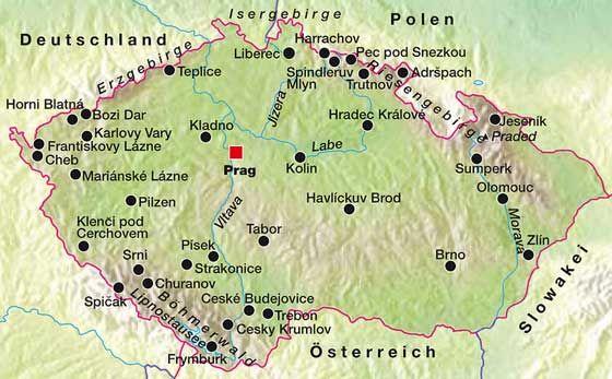 Tschechien Karte Reisefuhrer Tschechien Und Reisen
