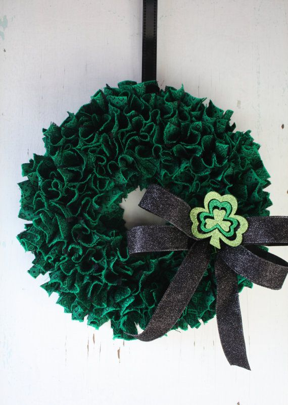 St.Patrick's Day - Rag Wreath - Emerald Green Fabric Wreath by TheTangledTreehouse