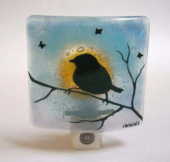 Night Light In Fused Glass Bird On A Branch by CDChilds on Etsy, $26.00