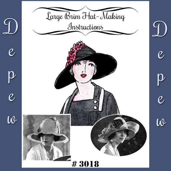 Vintage Sewing Pattern 1920's Large Brim Hat Depew 3018 Digital Print at Home Version -INSTANT DOWNLOAD-