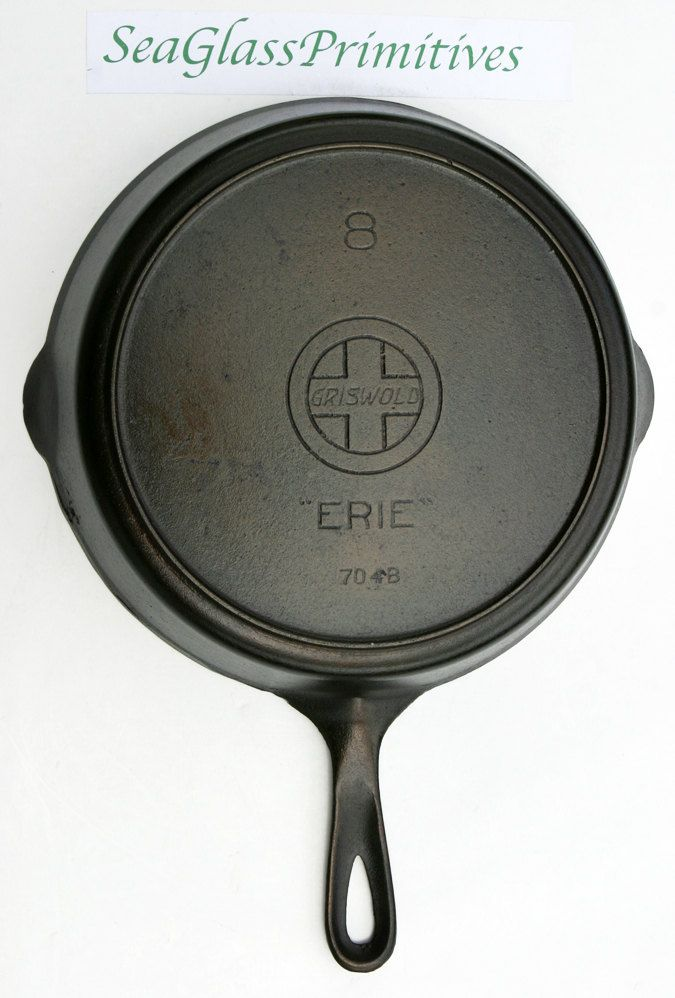 RARE Antique No. 8 GRISWOLD Slant Logo Erie Large Cast Iron Skillet Fry Pan with…
