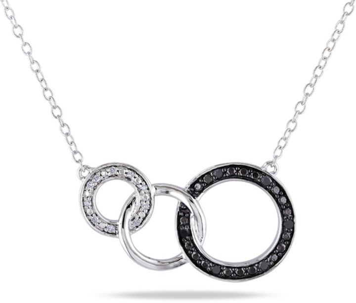 Zales 1/10 CT. T.W. Enhanced Black and White Diamond Three Interlocking Circles Necklace in Sterling Silver