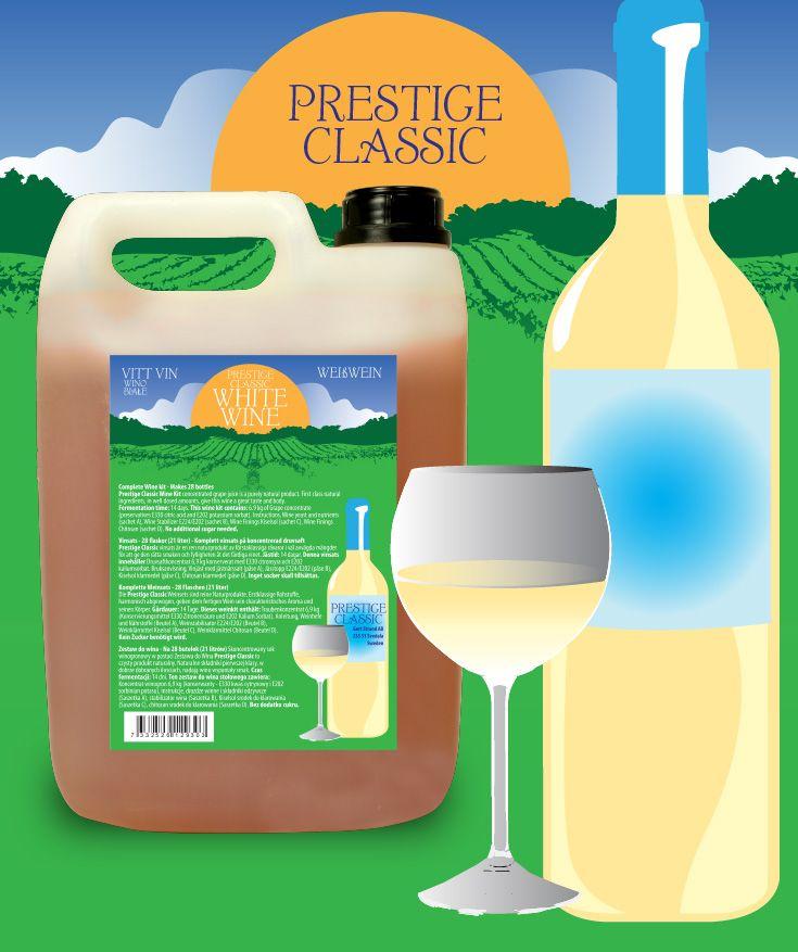 Prestige Classic vinsats 7KG Vitt vin Vinsats av hög kvalitet på 6,9 kg druvkoncentrat i 5L plastdunk. Komplett - endast vatten behöver tillsättas.