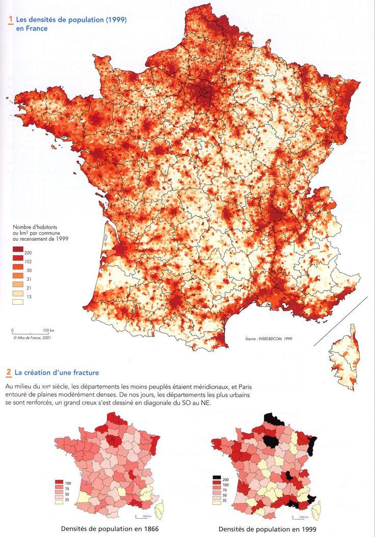 Evolution de la densité de population en France