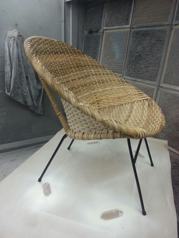 Newly Restored Rattan Saucer Chair Caning Rush Wicker