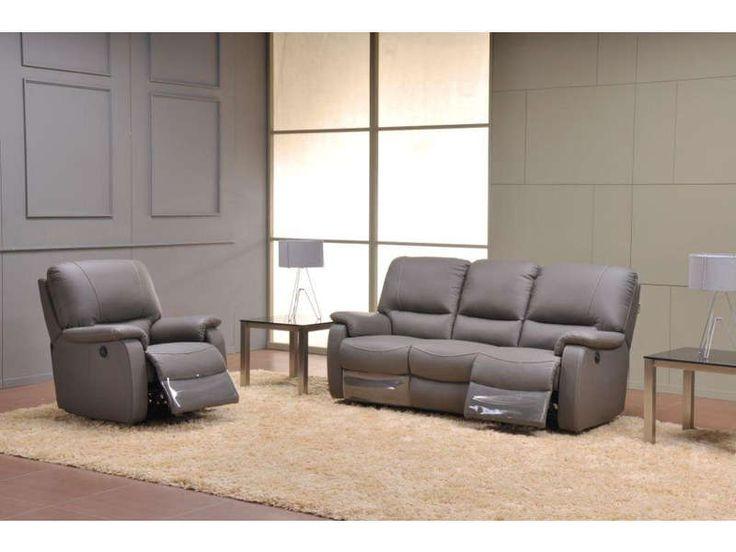 Canapé relaxation 3 places Coloris gris anthracite prix promo Canapé cuir Conforama 1 400.00 € TTC