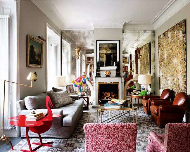 Incredible Eclectic Living Room With Mirrored Wall Obelisks On The Mantel A Whimsical Bird Side Table