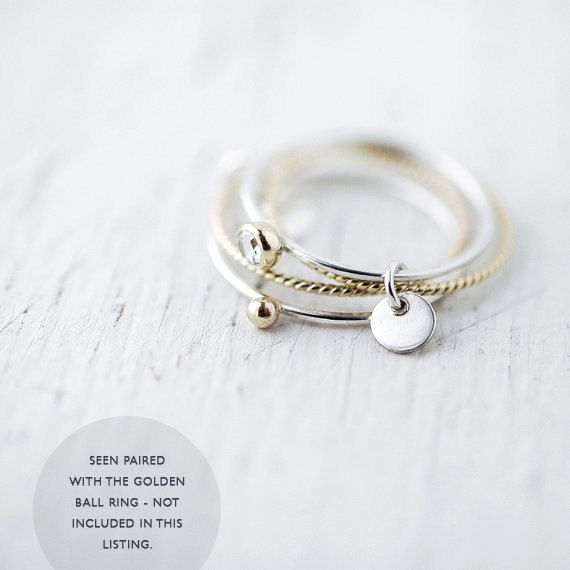 Diamond Toi et moi SOLID 14kt twisted gold and silver by Minicyn
