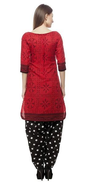 LadyIndia.com # Dress Material, Cotton Red And Black Salwar Suits With Duptta Dress Material Polka Dot Print Bottom, Unstitched Suit, Salwar Suit Duptta Set, Dress Material, Anarkali Dress, Straight Suit, https://ladyindia.com/collections/ethnic-wear/products/cotton-red-and-black-salwar-suits-dress-material