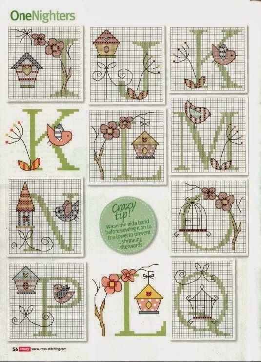 Birds and bird houses alphabet - free cross stitch patterns