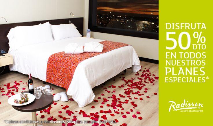 Comparte este fin de semana con tu pareja en un lugar mágico. Hasta el viernes recibe 50% de descuento en todos nuestros planes especiales, ingresa a www.hotelesar.com/planes Aplican condiciones.