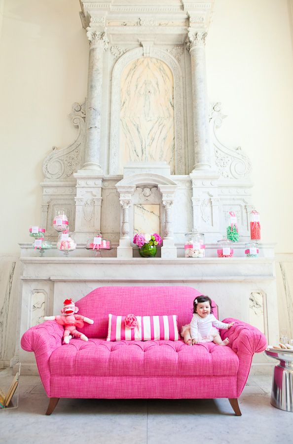 Ummm, this love seat is epic, the fabric is to die for, the little baby just makes me smile and a pink sock monkey? Yes, please!