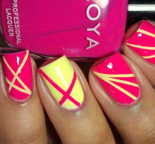 polish stripes, yellow and hot pink: Colors Combos, Yellow Nails, Summer Nails, Nail Design, Nails Art Design, Nail Art, Nails Designs, Diy Nails