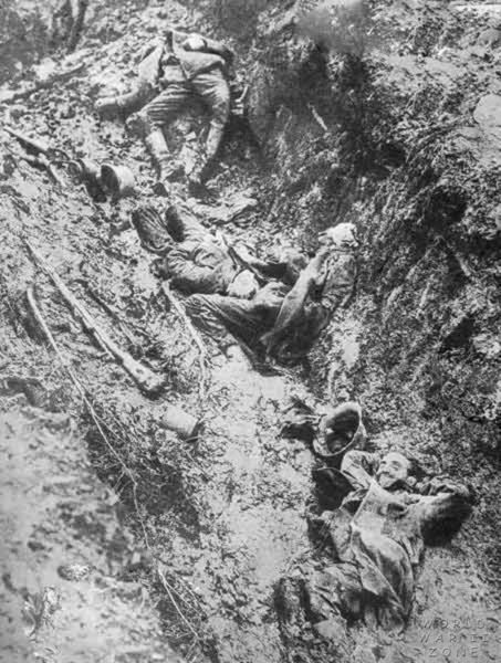 German dead in a trench following artillery barrage WW 1 Location and date unknown