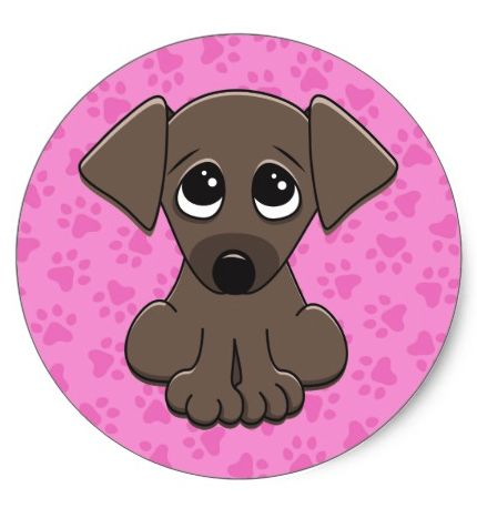 Cute, brown puppy dog on pink paw print background classic round sticker Cute stickers featuring a cartoon illustration of a little puppy dog with big, begging eyes on a pink pattern of paw prints. Fun decorative stickers for kids.