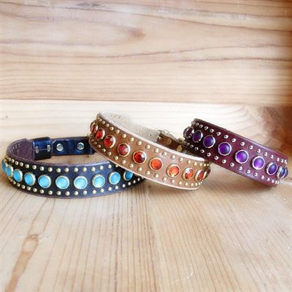 Leather dog collars with rhinestones and tiny studs in your choice of colors.