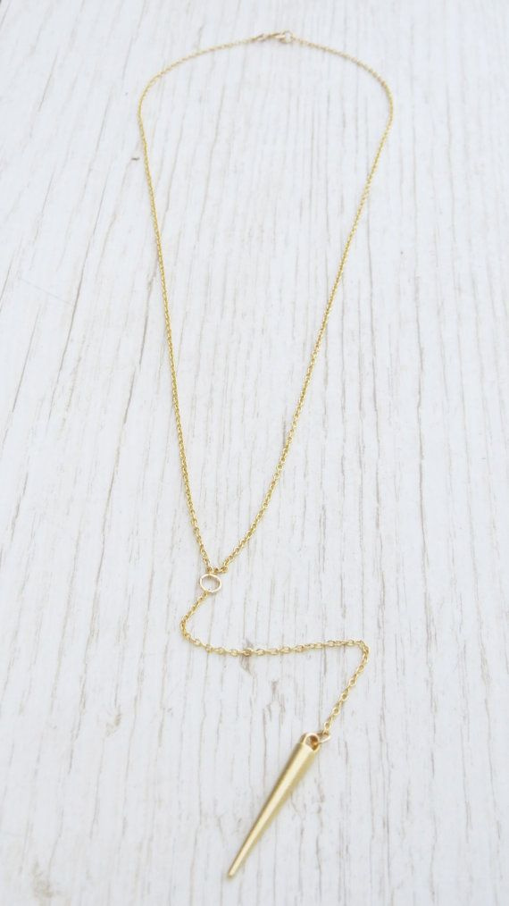 Modern, Stylish gold necklace, A gold spike pendant hangs from a Y shaped gold filled chain.  You can specify the length at checkout - The length on