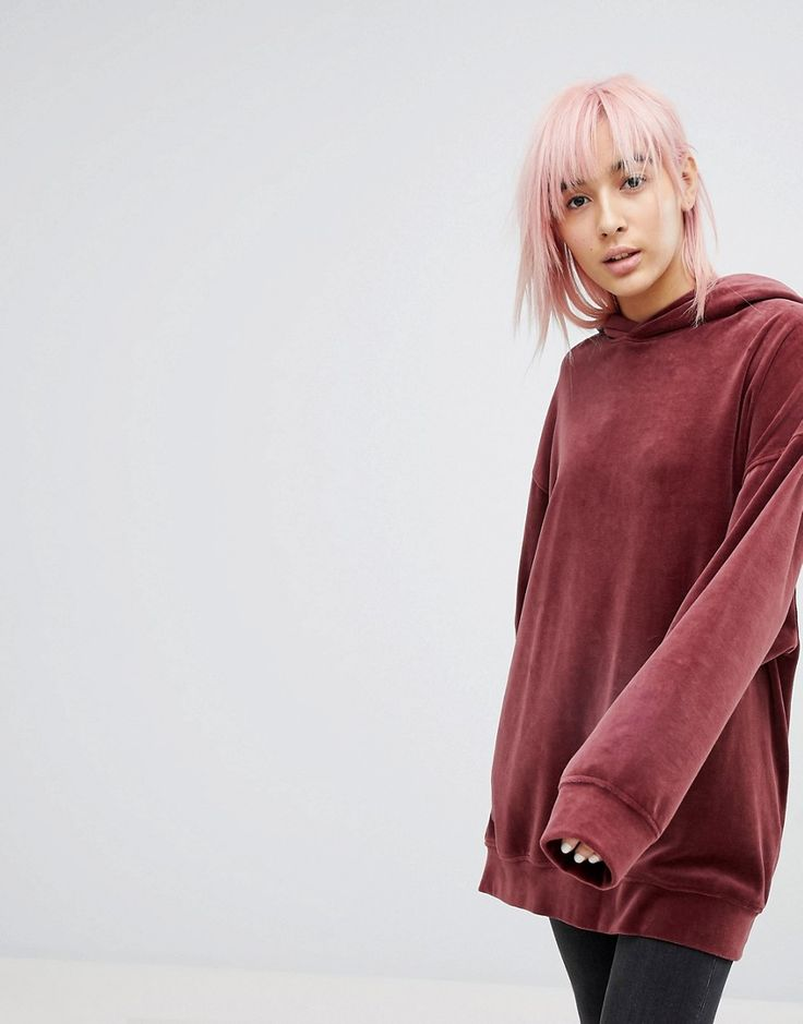 Weekday Oversize Velour Hoodie - Red