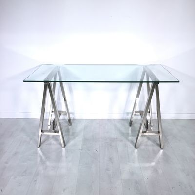Clear Thinking Desk By West Elm .   Sleek Chrome Finished Desk With A Wide