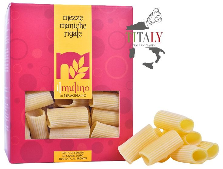 MEZZE MANICHE RIGATI GRAGNANO PASTA PGI 500gr - IL MULINO DI GRAGNANO  Like all stripes formed, the Mezze Maniche Rigate Gragnano PGI, originally were only produced for the northern markets and in particular for that of Rome, home to famous Roman dishes with cheese and pepper or pajata. Ideal with bright and pleasant condiments with tomato sauce, bring the sun into the kitchen, in every season.