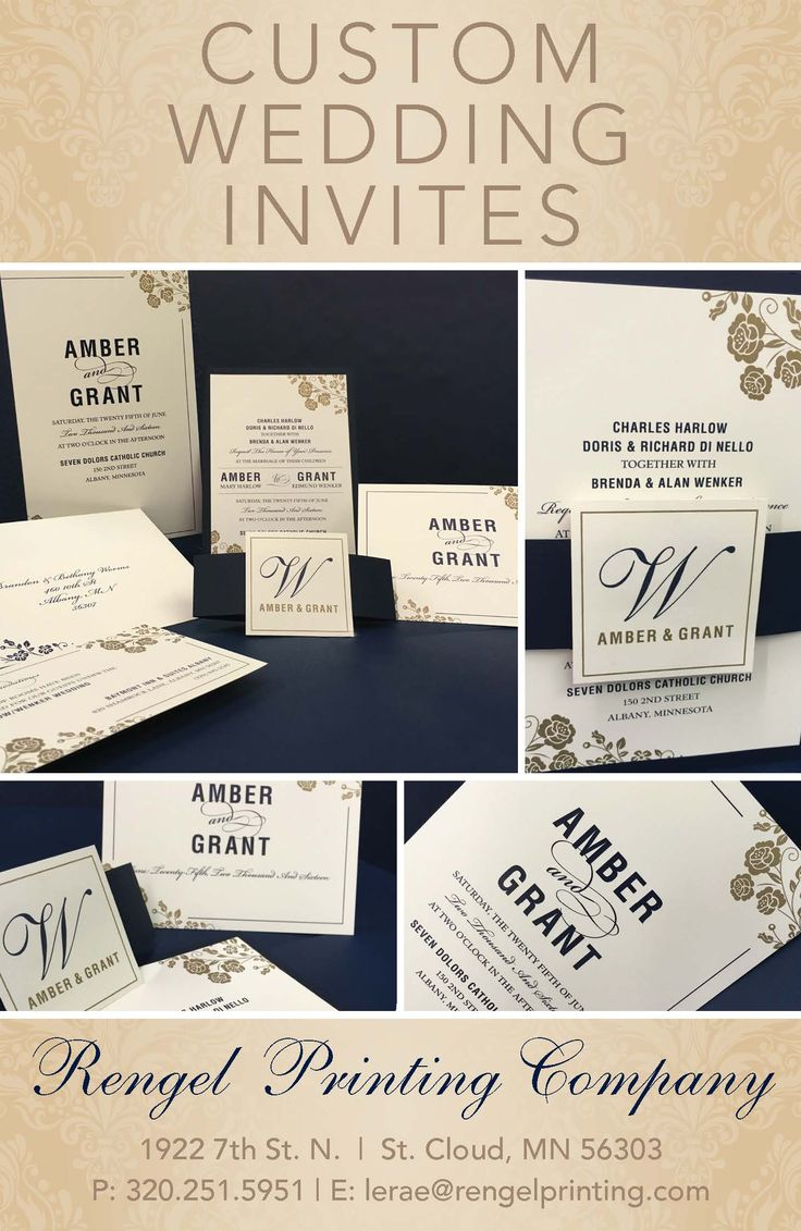 Custom wedding invites by Rengel Printing Company!  Contact LeRae at lerae@rengelprinting.com or 320-251-5951 to turn your vision into a reality!