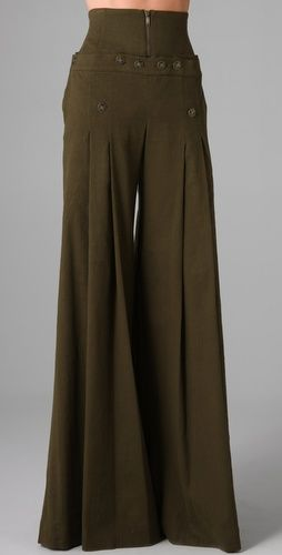 Matthew Williamson High Waisted Sailor Pants $800 - I'd pair these with my white strapless Banana Republic top and some type of enormous headband/hairdo