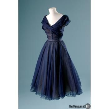 1950 Dior, Blue silk chiffon and ivory silk organza. The Museum at FIT - Online Collections