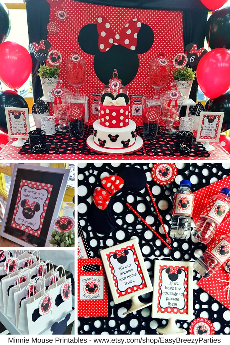 Minnie Mouse red polkadot party printable set - so cute! Drink bottle wrappers, thank you tags, labels, welcome signs, 2 inch circles, bunting. Available at https://www.etsy.com/listing/452513052/red-minnie-mouse-printable-set-free?ref=shop_home_active_1