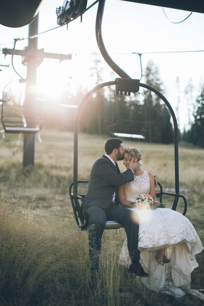 Chairlift wedding portrait at Yosemite National Park | Image by From The Daisies